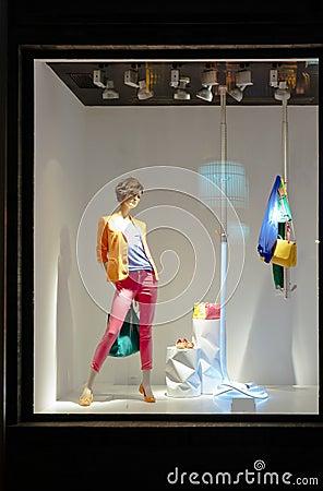 Mannequin in fashion showcase