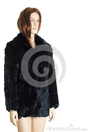 Mannequin in fur coat | Isolated