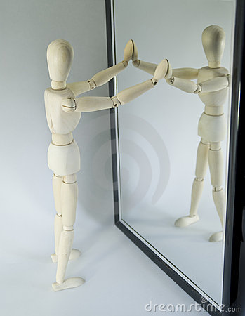 Mannequin Looking In Mirror Stock Photography Image