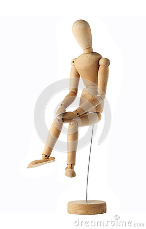 Free Mannequin Old Wooden Dummy Feeling Sad Isolated On White Royalty Free Stock Image - 46540446