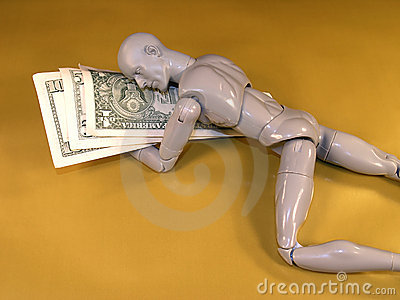 Mannequin Sleeping on Money
