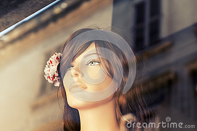 Mannequin in store window.