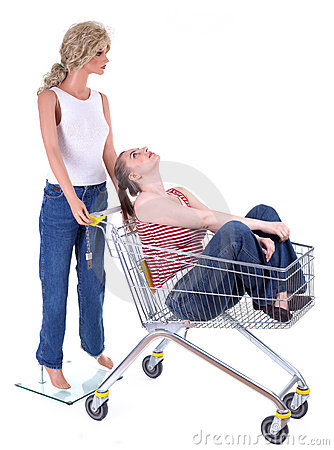 Mannequin with woman in shopping cart