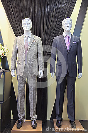 Mannequins in a men fashion store