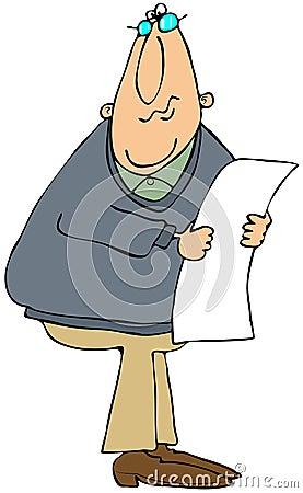 Mannlesung von einem langen Papier