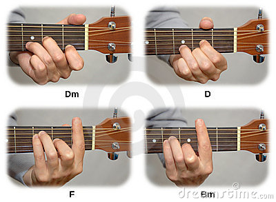 Mano del chitarrista che gioca le corde della chitarra: Dm, D, F, Bm