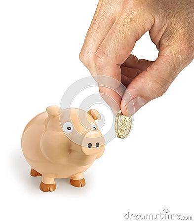 Mano del dollaro australiano della Banca Piggy