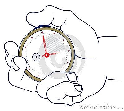 Mano y cronómetro