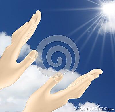 Manos Que Alcanzan Hacia Fuera El Sol Imagen de archivo - Imagen: 14987811