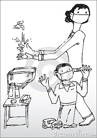 Manos que se lavan de la madre y del hijo