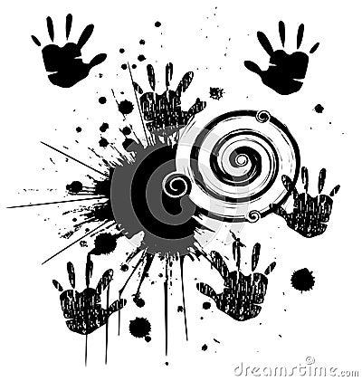 Manos y estilo del grunge de la tinta