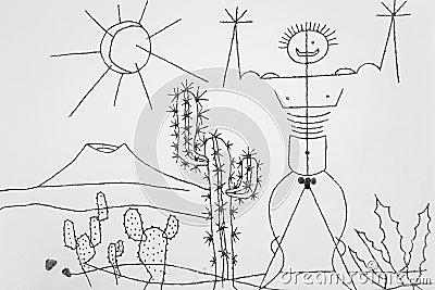 Manrique s art in Jardin de Cactus Editorial Stock Image