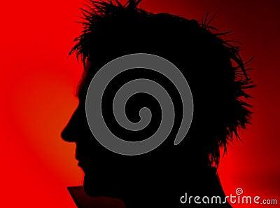 Mans face silhouette