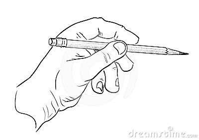 Mans hand with pencil