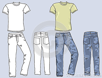 Mans jeans and t-shirts