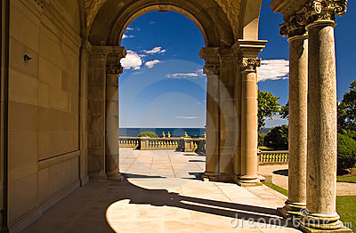 Mansion Archway to patio Editorial Stock Image
