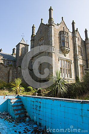 Mansion and derelict pool