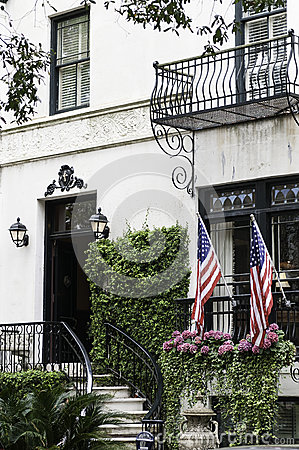 Mansion entrance US Flags