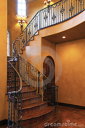 Free Mansion Home Interior Front Stairway Entrance Royalty Free Stock Photo - 23767815