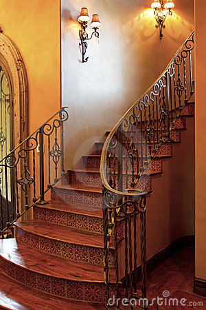Mansion home interior front stairway entrance