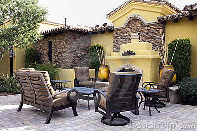 Mansion home outdoor plaza patio