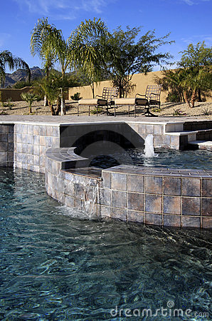 Mansion pool, spa and patio