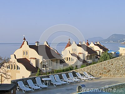 Mansions with tiled roof at Black Sea shore