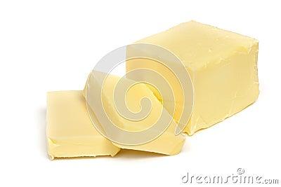 Mantequilla aislada en blanco