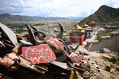 Mantra Om Mani Padme Hum, Monastery  tibet