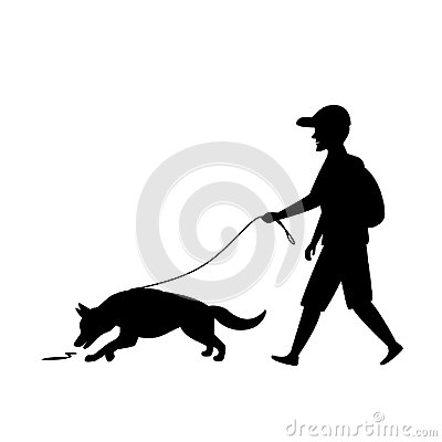 Free Mantrailing Training Dog Silhouette Graphic Royalty Free Stock Image - 122488426