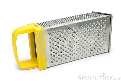 Manual grater with yellow handle