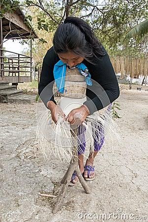 Manual Hat Weaving Process Editorial Image