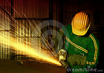 manual worker with grinder