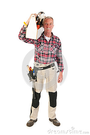 Manual worker with heavy toolkit