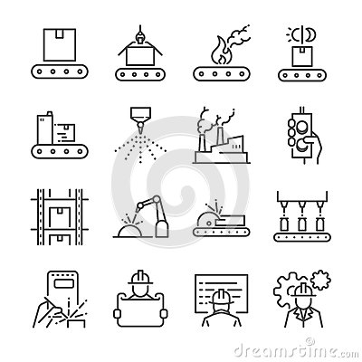 Free Manufacturing Line Icon Set. Included The Icons As Process, Production, Factory, Packing And More. Royalty Free Stock Images - 93815619
