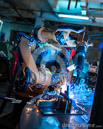 Free Manufacturing. Robotic Machine Welding Metal Royalty Free Stock Photography - 59708377
