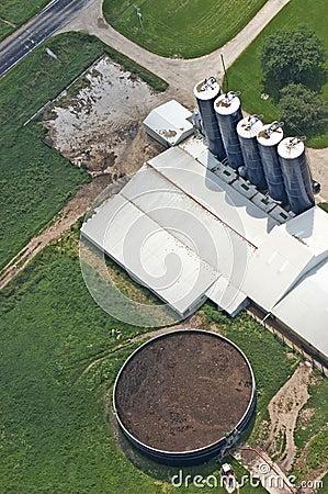 Manure Tank on Dairy Farm Aerial View Detail