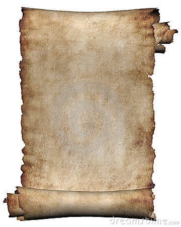 Manuscript rough roll of parchment paper texture background isolated on white