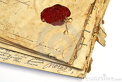 Manuscript with wax stamp