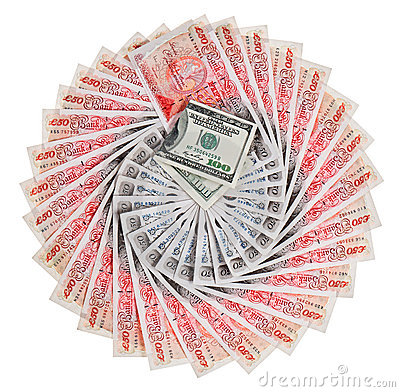 Many 50 pound sterling bank notes with 100 dollars