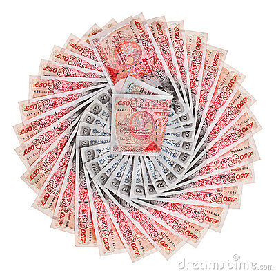 Many 50 pound sterling bank notes, isolated