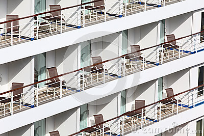 Many balconies with chairs table on ship