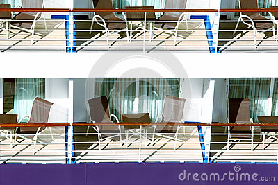 Many balconies on ship