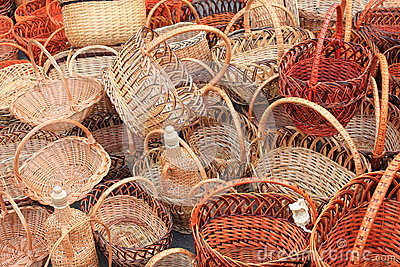 Many beautiful wooden wicker baskets