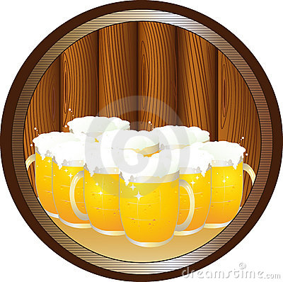 Many beer mugs on tray in round