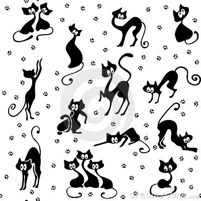 Many black cats seamless