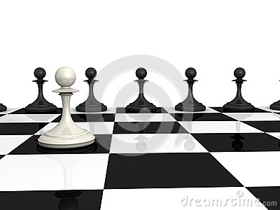 Many black and one white pawns on checkerboard