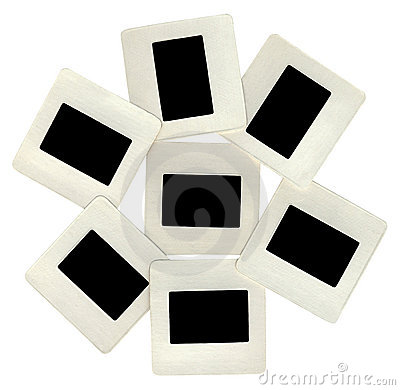 Many black slides with white frames, lightbox