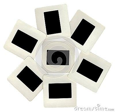Many black slides with white frames, lightbox