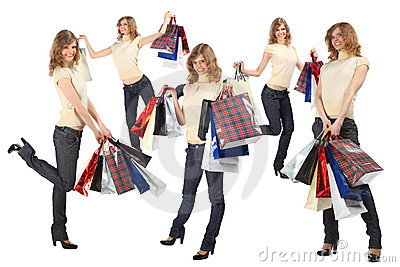 Many blondes with paper bags full body, collage